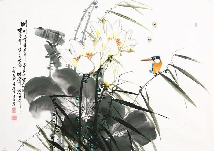 朝鲜_Oh_Young_Seong_的花鸟画欣赏朝鲜_Oh_Young_Seong_的花鸟画欣赏0006