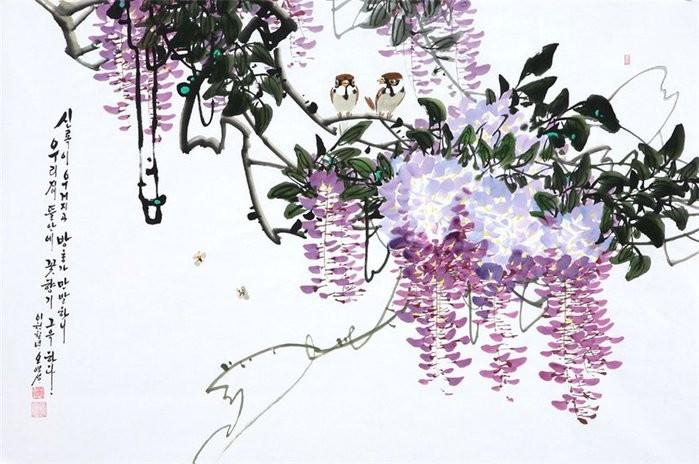 朝鲜_Oh_Young_Seong_的花鸟画欣赏朝鲜_Oh_Young_Seong_的花鸟画欣赏0008