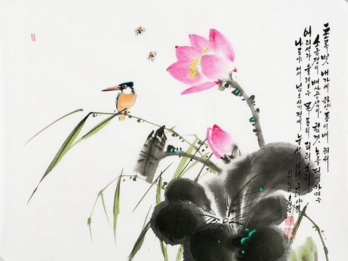 朝鲜_Oh_Young_Seong_的花鸟画欣赏朝鲜_Oh_Young_Seong_的花鸟画欣赏0011