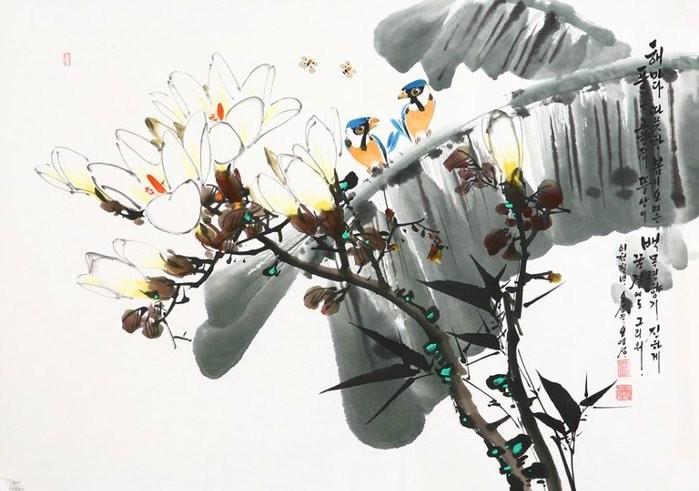 朝鲜_Oh_Young_Seong_的花鸟画欣赏朝鲜_Oh_Young_Seong_的花鸟画欣赏0013