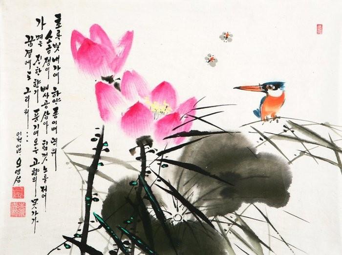 朝鲜_Oh_Young_Seong_的花鸟画欣赏朝鲜_Oh_Young_Seong_的花鸟画欣赏0014