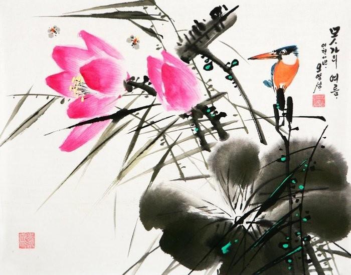 朝鲜_Oh_Young_Seong_的花鸟画欣赏朝鲜_Oh_Young_Seong_的花鸟画欣赏0022