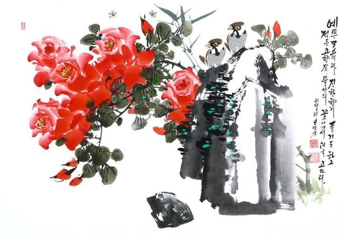 朝鲜_Oh_Young_Seong_的花鸟画欣赏朝鲜_Oh_Young_Seong_的花鸟画欣赏0023