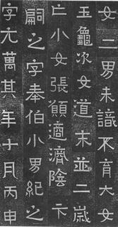 (东晋)楷隶_王建之妻刘媚子墓志(石志、砖志)0003作品欣赏