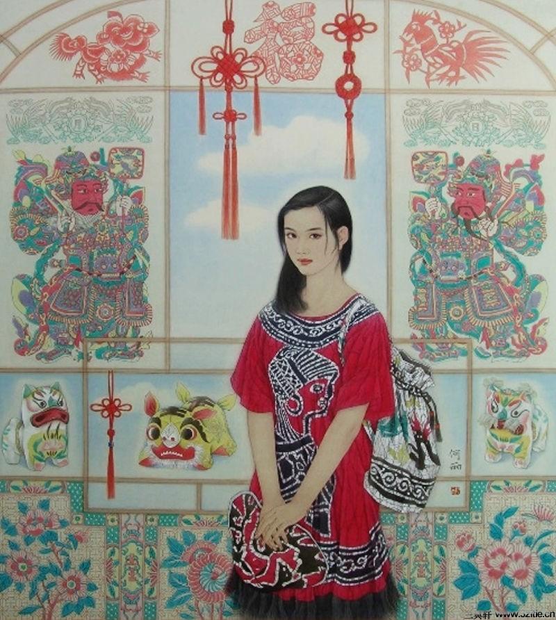 工笔画白描图片高清 纪梵希裙子 少女人物白描工笔画