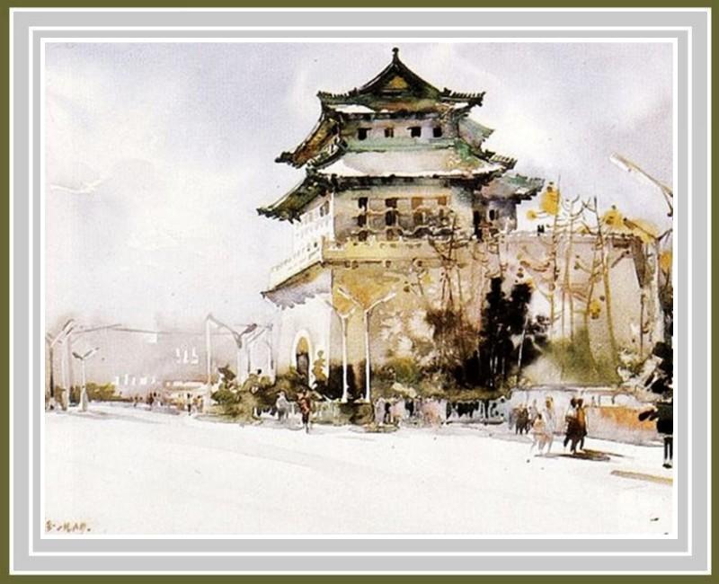 画家华宜玉建筑风景水彩画0018书法作品字帖欣赏