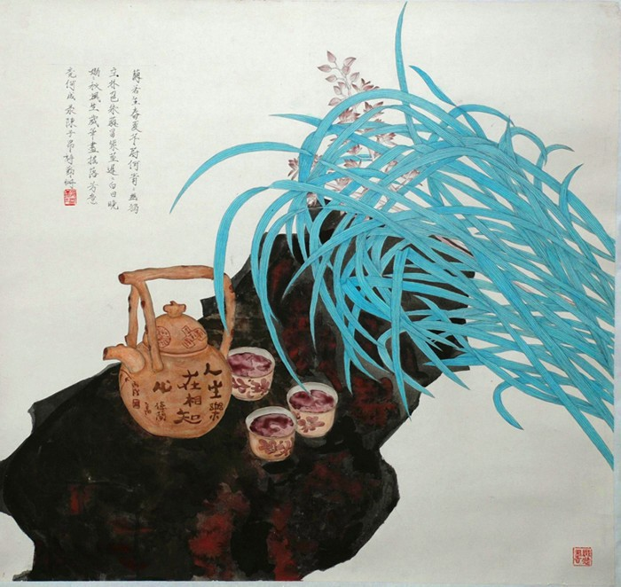 【高清】儿童画海底世界珊瑚::海底的岩石上长着各种
